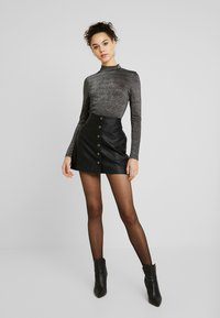 ONLY - ONYGLADYS HIGH NECK GLITTER - Long sleeved top - black/silver - 1