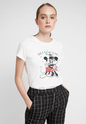 ONLDISNEY FIT XMAS TOP BOX CO  - T-shirt con stampa - bright white/love