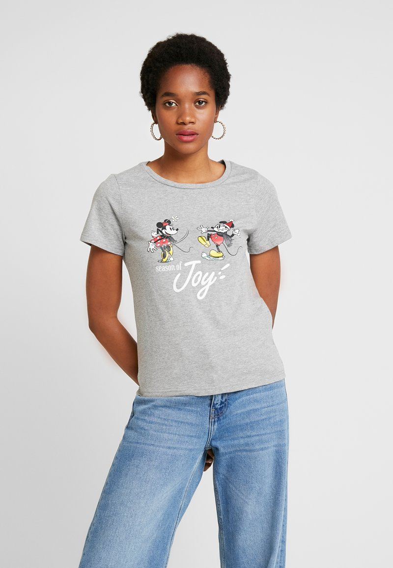 ONLY - ONLDISNEY FIT XMAS TOP BOX CO  - T-shirt z nadrukiem - light grey melange/joy
