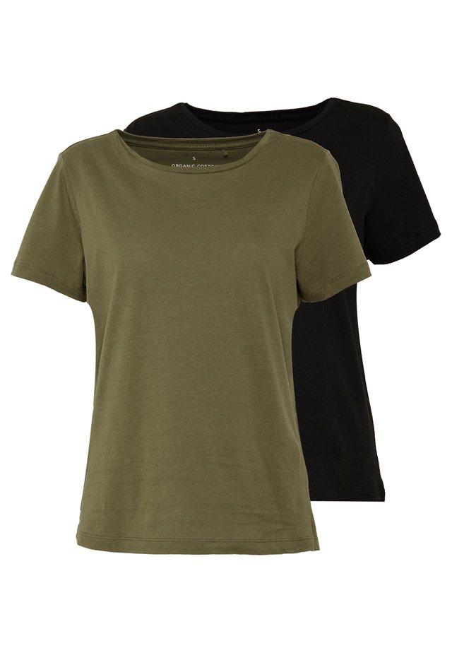 ONLPURE LIFE O-NECK 2PACK - Camiseta básica - kalamata/black