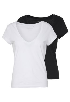 ONLINITIAL LIFE V NECK 2 PACK - Basic T-shirt - bright white/black