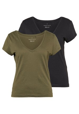 ONLINITIAL LIFE V NECK 2 PACK - Basic T-shirt - kalamata/black