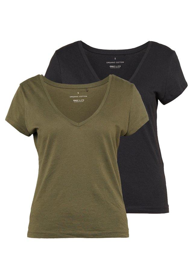 ONLINITIAL LIFE V NECK 2 PACK - Camiseta básica - kalamata/black