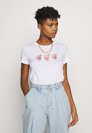 ONLKITA FLAMINGO - T-shirt con stampa - bright white