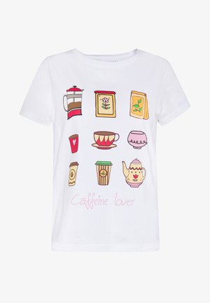 ONLHAPPY ALL - T-shirts med print - bright white/coffeine lover