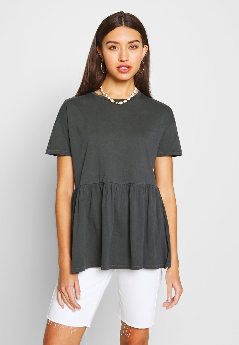 ONLY - ONLALLIE  LONG TEE - T-shirts - black