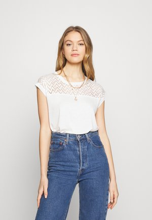 ONLNEW NICOLE LIFE - T-shirt imprimé - cloud dancer