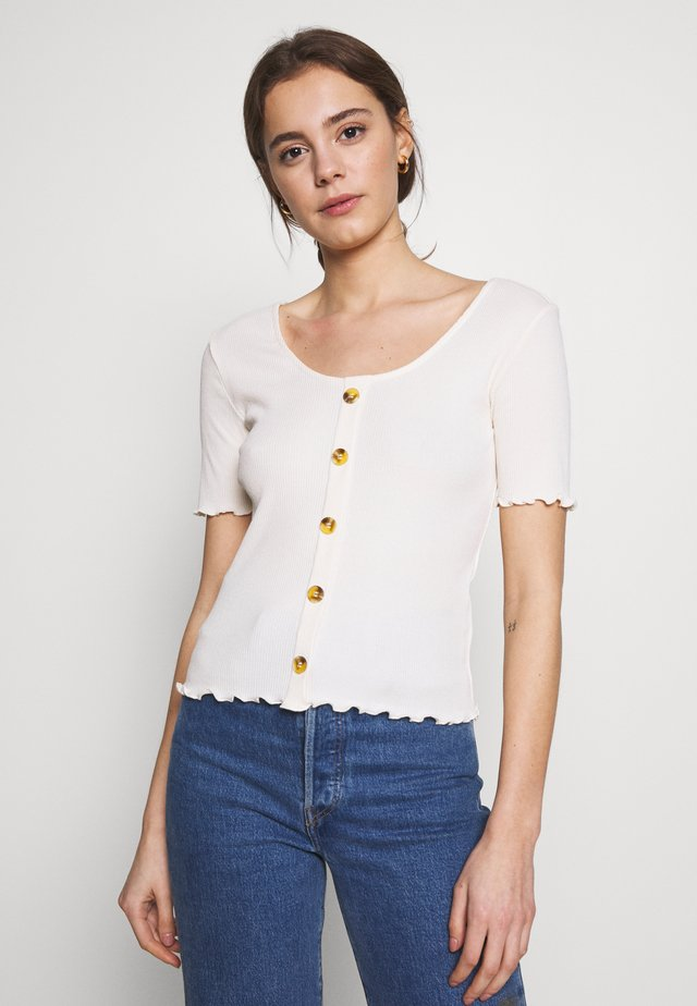 ONLJUDITH LIFE BUTTON - Camiseta estampada - beige