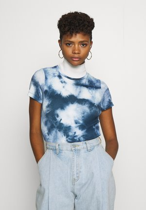 ONLMOLLY TOP - Print T-shirt - cloud dancer/tie dye blue