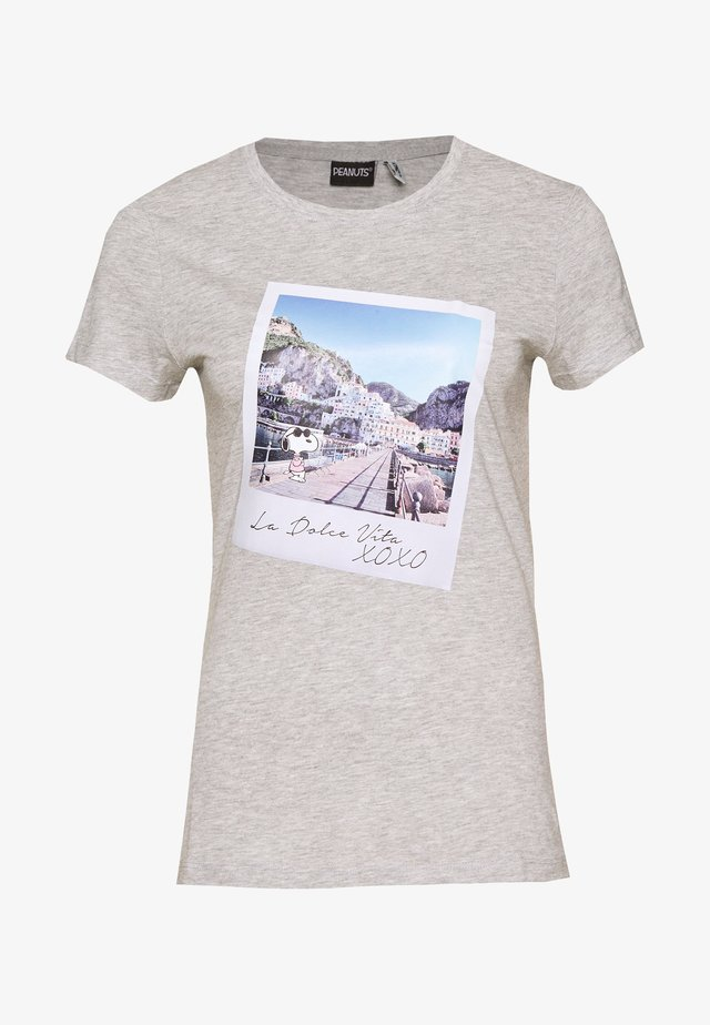 ONLPEANUTS LIFE FIT PHOTO BOX - T-shirt print - light grey