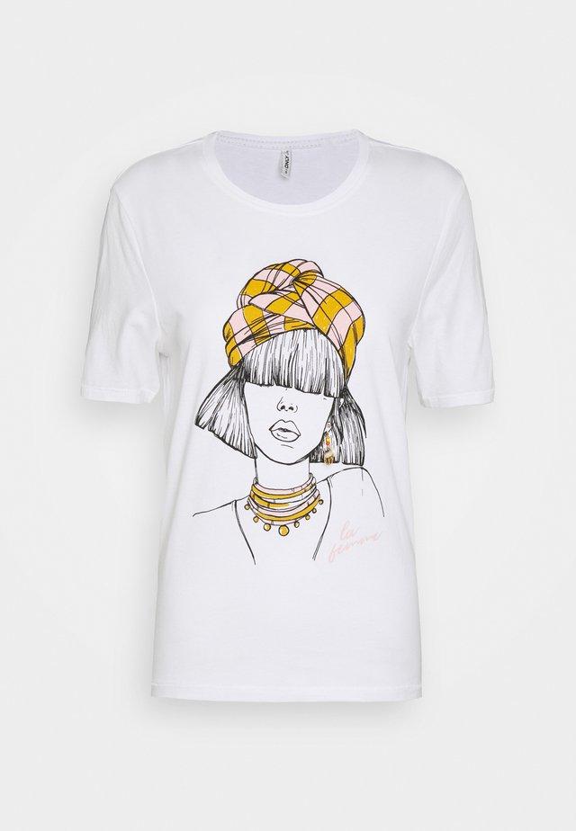 ONLVIOLET LIFE BOXY  - T-shirt imprimé - bright white