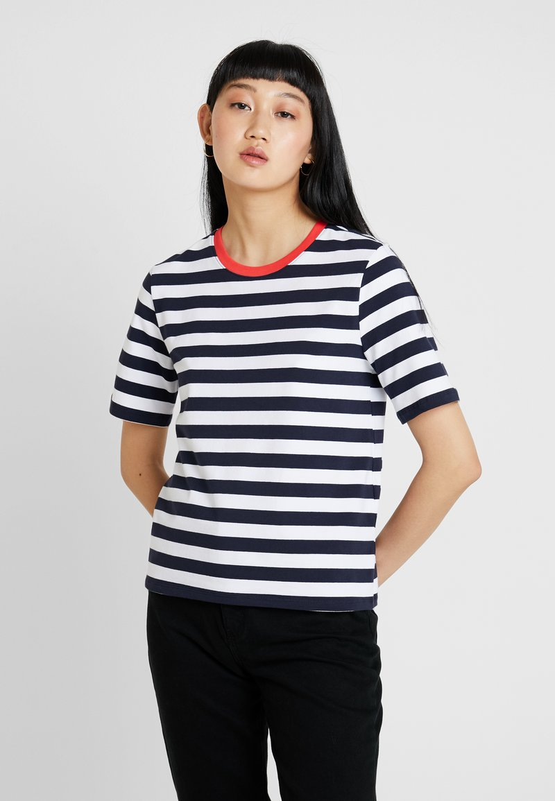 ONLY - ONLLIVE LOVE TRENDY STRIPE ONECK - Print T-shirt - night sky/wide white