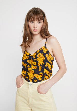 ONLDAISY MINI SINGLET - Blouse - black/yellow daisy