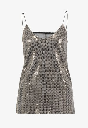 SHINE SINGLET - Topper - black gold sequins