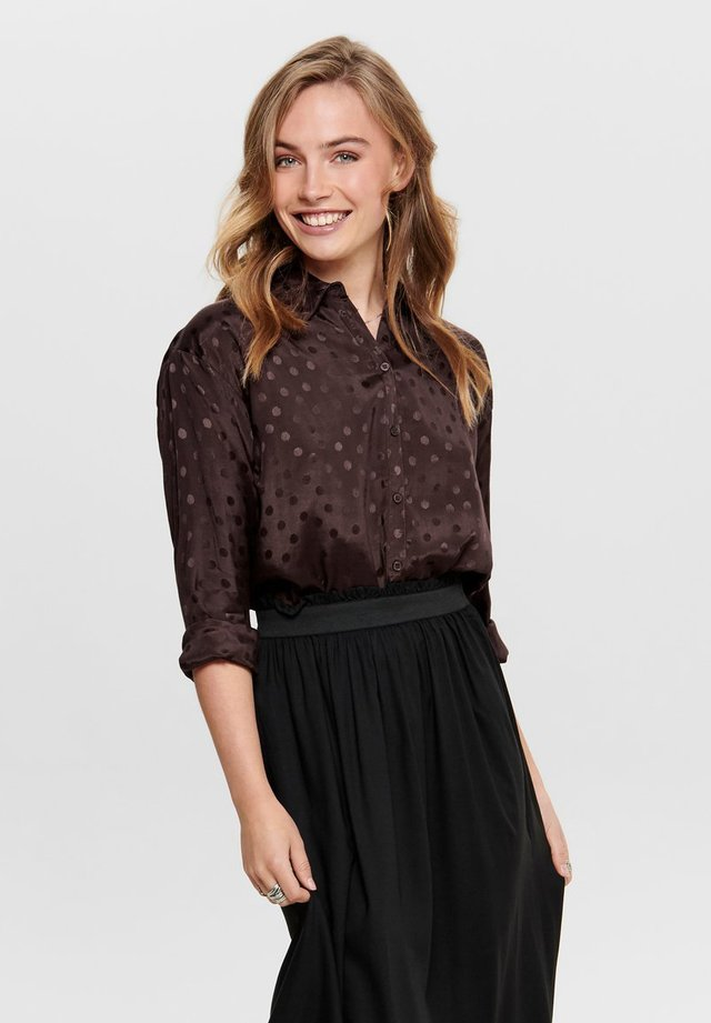 GEPUNKTETES - Button-down blouse - chocolate plum