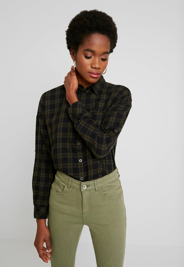ONLROSALIE LOOSE - Button-down blouse - black/forest night