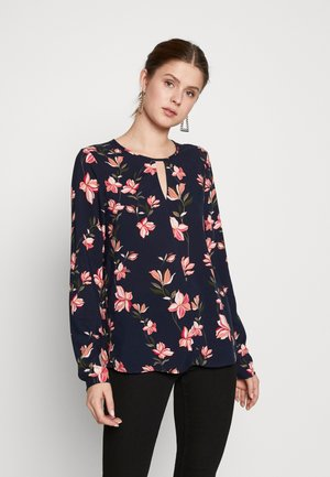 ONLNOVA  KEY HOLE TOP - Blouse - night sky/magnolia