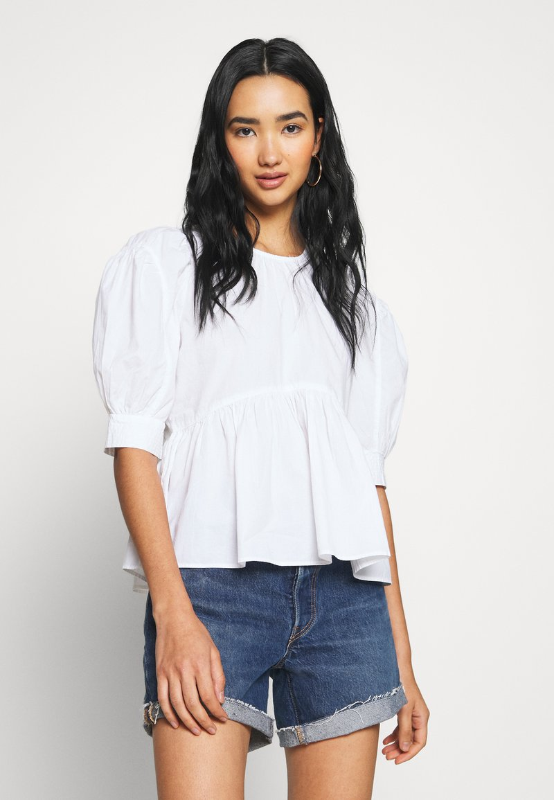 ONLY - ONLKARLA S/S PUFF SLEEVE TOP WVN - Camicetta - white