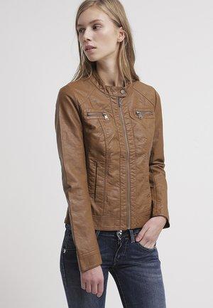 BANDIT BIKER - Faux leather jacket - cognac