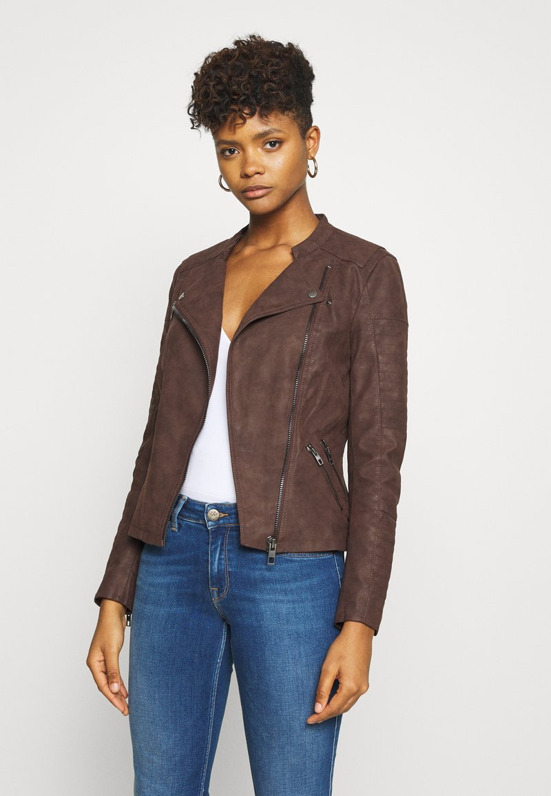 ONLY - ONLAVA BIKER  - Faux leather jacket - chicory coffee