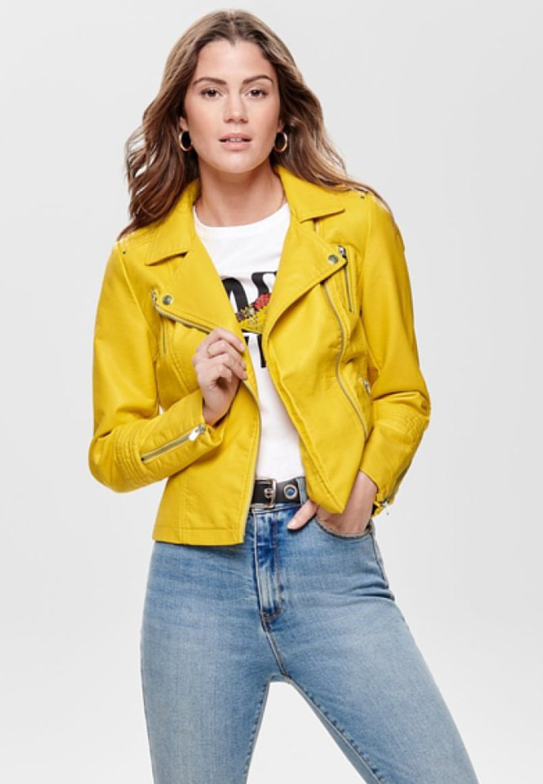 ONLY - Faux leather jacket - yellow
