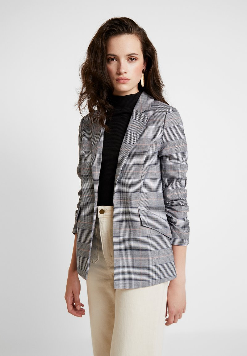 ONLY - ONYSOPHIE CHECK DIANA 3/4 BLAZER - Blazer - cloud dancer/blue/black
