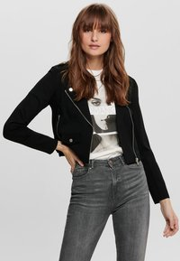 ONLY - ONLPOPTRASH BIKER JACKET PNT - Giacca in similpelle - black - 0
