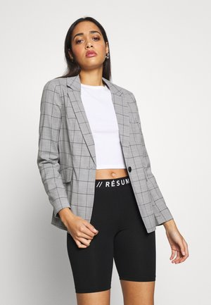 ONLCAROLINA CHECK - Blazer - light grey melange/black