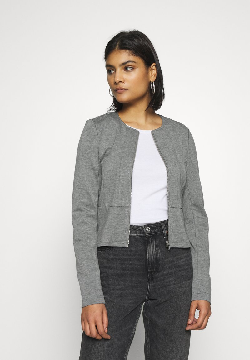 ONLY - ONLPOPTRASH ZIP  - Blazer - medium grey melange