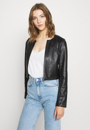ONLDAISY BOLERO - Faux leather jacket - black