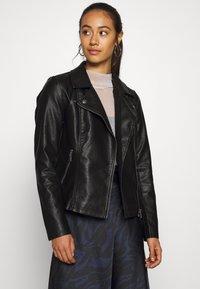 ONLY - ONLMELISA BIKER - Faux leather jacket - black - 0