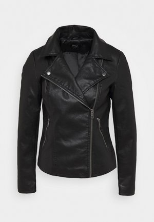 ONLMELISA BIKER - Faux leather jacket - black