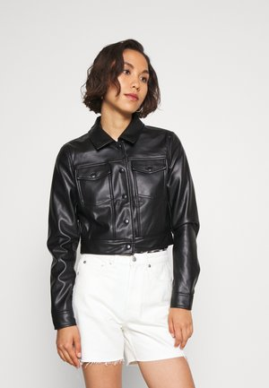 ONLVIBE TRUCKER JACKET - Faux leather jacket - black