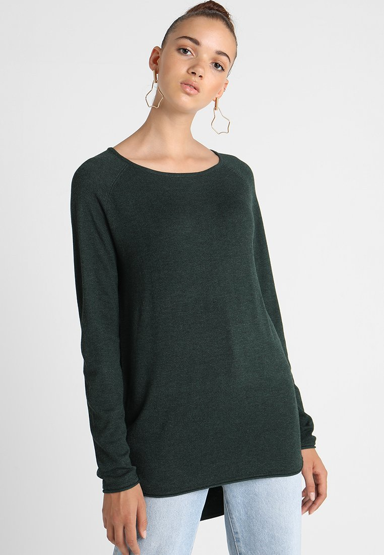 ONLY - ONLMILA LACY LONG - Strickpullover - green gables melange