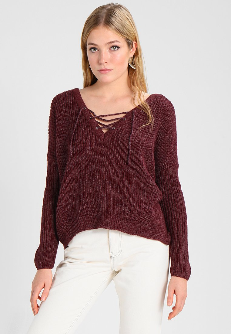 ONLY - ONLPEYTON LACE UP - Strickpullover - port royale
