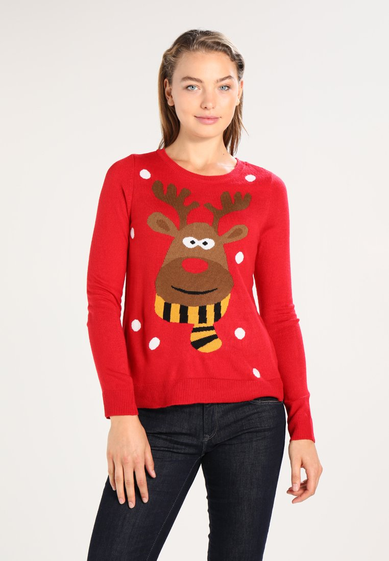 ONLY - ONLX-RED NOSE CHRISTMAS - Maglione - samba/cloud dancer/black/rubber/s