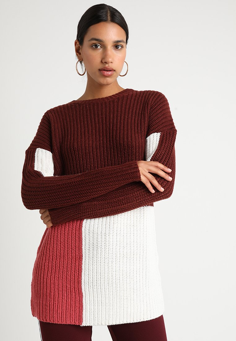 ONLY - ONLBLOCKY LONG - Pullover - chocolate truffle/baroque rose
