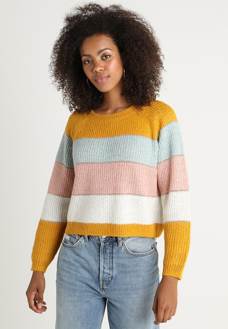 ONLY - ONLMALONE STRIPE - Strikkegenser - golden yellow/ether/misty rose