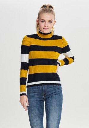 ONLKAROL ROLLNECKPULLOVER - Jersey de punto - mottled yellow/blue