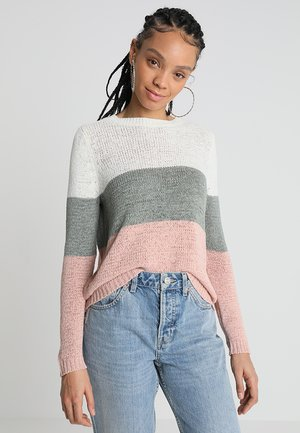 ONLGEENA - Jumper - cloud dancer/chinois green/rose