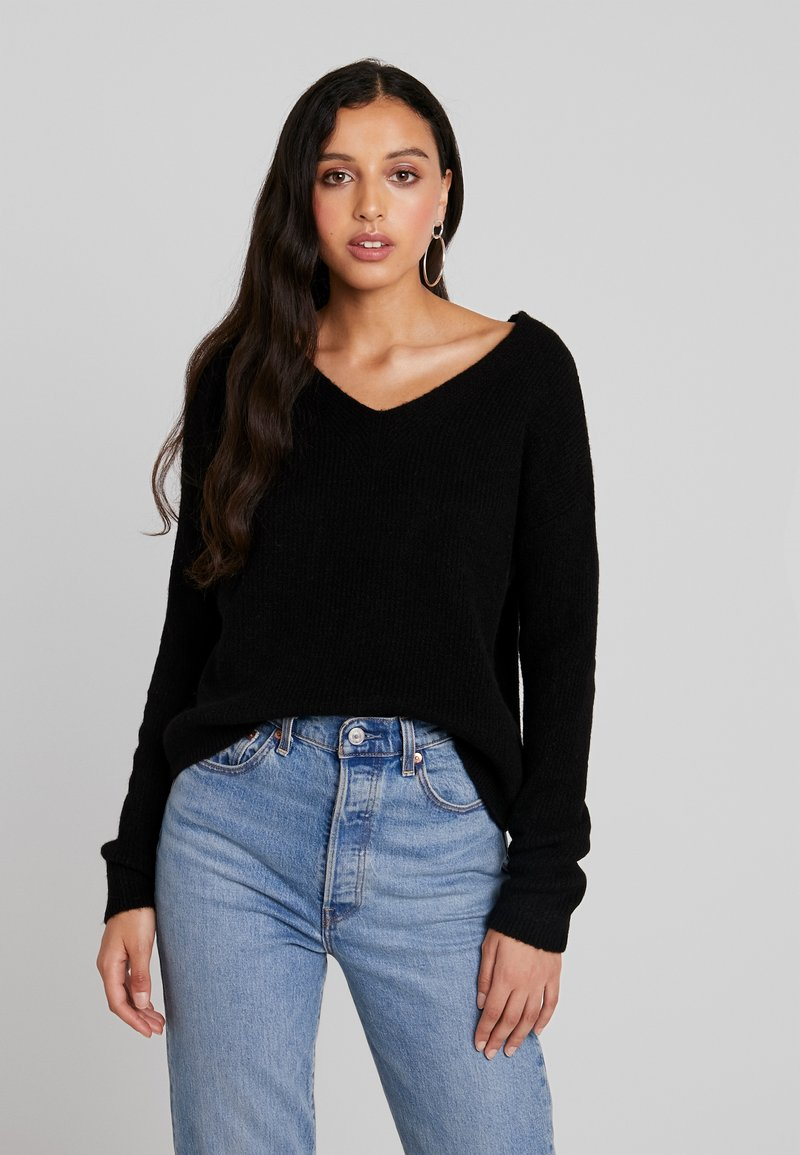 ONLY - ONLMARIE V NECK - Stickad tröja - black
