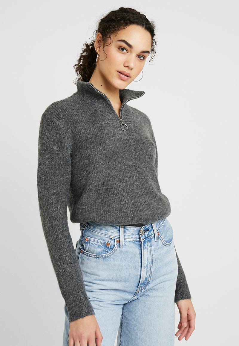 ONLY - ONLHANNAH ZIP - Jersey de punto - medium grey melange