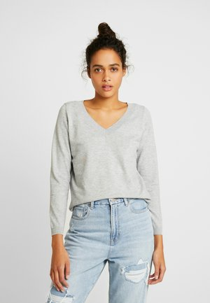 ONLJULIA  V-NECK - Jumper - medium grey melange