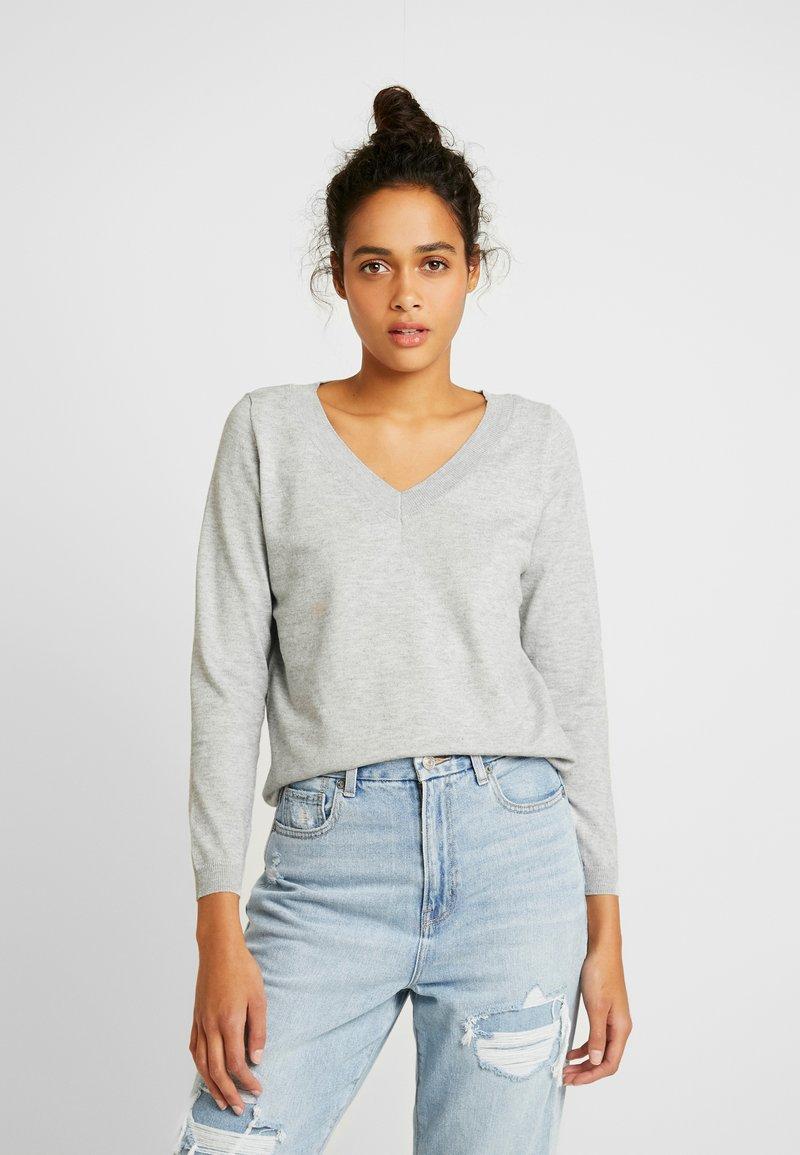 ONLY - ONLJULIA  V-NECK - Pullover - medium grey melange