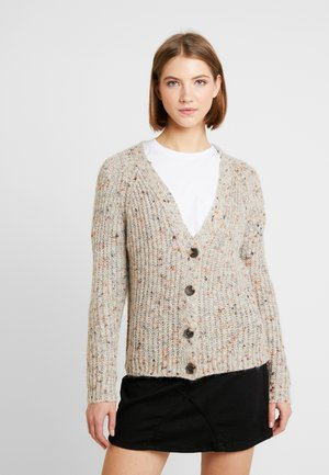 ONLHANNI BUTTON V-NECK CARDIGAN - Cardigan - light grey melange/multicolor