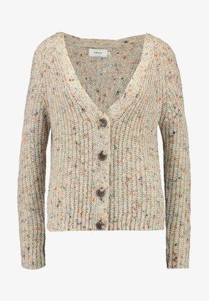 ONLHANNI BUTTON V-NECK CARDIGAN - Vest - light grey melange/multicolor
