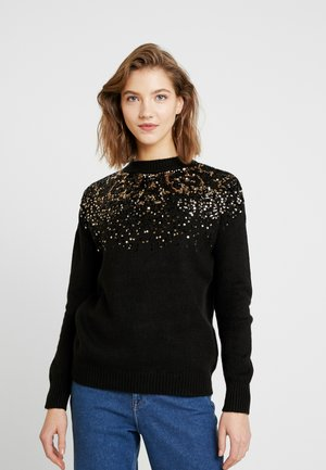 ONLANNA - Stickad tröja - black/black/gold