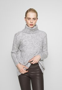 ONLY - ONLFREPOP ROLLNECK - Strikkegenser - light grey melange - 0