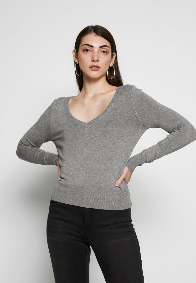 ONLVENICE V NECK - Jersey de punto - medium grey melange