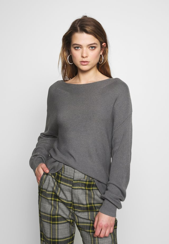 ONLCLARA BOATNECK - Jersey de punto - medium grey melange